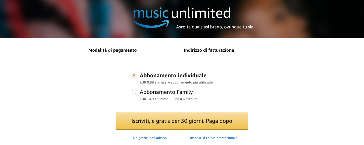 abbonamento music unlimited